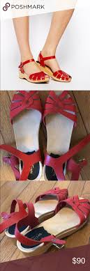 Red Low Platform Swedish Hasbeens 38 Super Cute And Barely