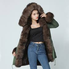 oft brand 2018 new long camouflage winter jacket women outwear thick parkas natural real fox fur