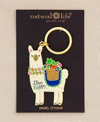 Natural Life Live Happy enamel key chain – loopslove.com