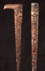 Decorated Walking Canes A well carved Maori walking cane with overall decoration abalone 37