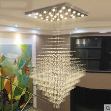 2018 l modern minimalist villa large chandelier duplex building staircase light rectangular crystal chandelier living room hall light from jinyucao