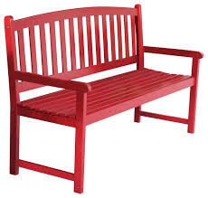 5 ft outdoor garden bench in red wood finish with armrest contemporary outdoor benches by hilton furnitures
