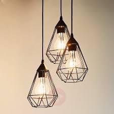 3 bulb vintage pendant light tarbes in black 3031860 01