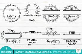 Enjoy these free svg cut files from crunchy pickle. Family Monogram Frames Bundle Graphic By Redearth And Gumtrees Creative Fabrica