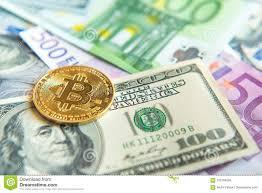Bitcoin на долларе и евро представляет счет вклад, обменный курс, Wea  Стоковое Фото - изображение насчитывающей вклад, счет: 109768582