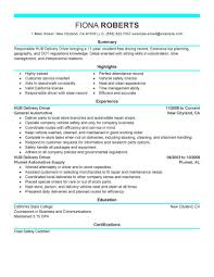 Delivery Driver Resume Example Delivery Driver Resume Resumes Parts Sample Cover Letter Skills 23