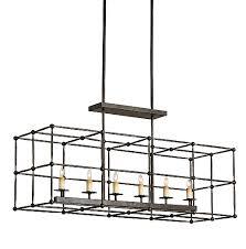 rustic bronze rectangular chandelier