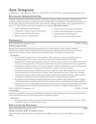 Resume Template Sql Dba Resume Sample Resumes And Cover Letters