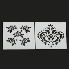 Stencil muro decorare e facile : Cuore depoca rosa fiore pittura modello stencil fai da te album