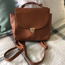 atmosphere handbags brown leather mini backpack