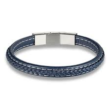 braided vintage leather bracelet for men with stainless steel peaceful island