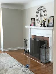 benjamin moore edgecomb gray red brick fireplace white mantel greige paint colour kylie m interiors e design