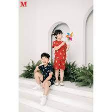 Bộ quần áo bé trai và bé gái quần đùi và áo cộc tay họa tiết gấu polo  DFM0176 Thời trang M2 giá cạnh tranh