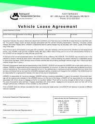 Car Lease Contract Template Professional Vehicle Lease Agreement Template Form Sample With 1