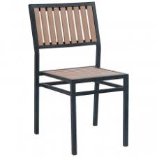 Outdoor metal chair Heavy Duty Black Metal Chair With Natural Finish Vertical Slat Plastic Teak Commercial Furniture Restaurant Patio Furniture Outdoor Commercial Grade Furniture