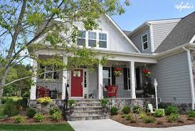 farmhouse style front doorsSophias Farmhouse Style Front Porch with Pops of Red