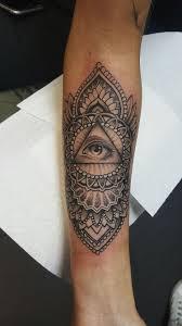 Mandala Eye Tattoo Cool Mandala Flower And Triangle Eye Tattoo On