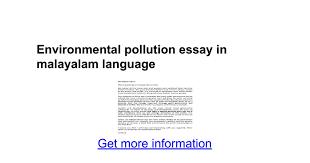 environmental pollution essay in malayalam language google docs