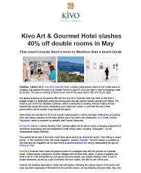 Kivo Press Release February 2015 Kivo Hotel
