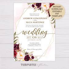 Wedding Invitation Downloads Marsala Flowers With Gold Frame Wedding Invitation Template
