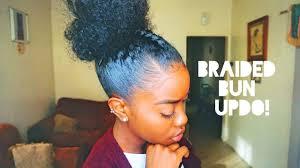 Black Braided Bun Hairstyles Natural Hair Braided Bun Updo Youtube