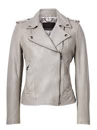 banana republic womens leather moto jacket light gray size xs