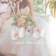結婚式に 押し花 ハートブーケジェル ネイルチップ ブライダル