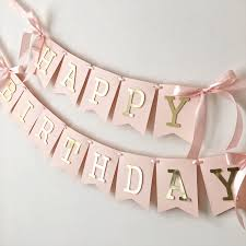 Happy Birthday Banners Personalized Blush Rose Gold Happy Birthday Banner Personalized Girl 1st Birthday