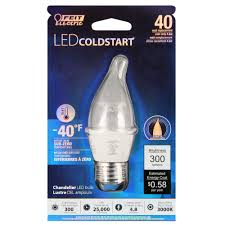 led candelabra e26 base 4 8 watt 40w equiv dimmable coldstart 300 lumens feit electric