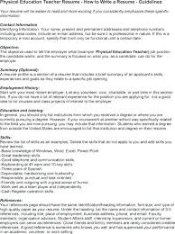 Objective For School Teacher Resume Physical Education Resumes Physical Education Resume Examples 65