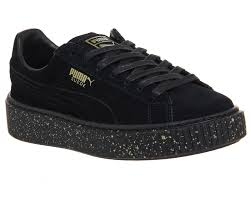 puma shoes suede black. puma suede platforms gold splatter black shoes