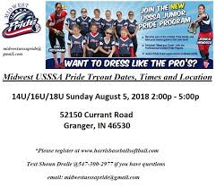 Usssa Softball Age Chart 2018 Midwest Usssa Pride Info Harris Baseball Softball Inc