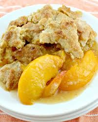 southern peach cobbler with canned peaches. Wonderful Canned Southern Peach Cobbler On A Plate And With Canned Peaches E