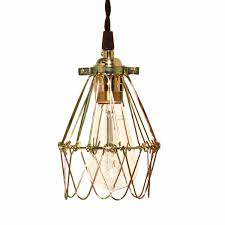 minimalist polished brass cage pendant barn light electric within wire remodel 9