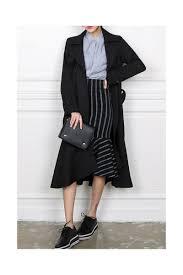 black ruffled hem long trench coats