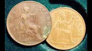 1900 1967 One Penny Coin From Uk Seated Figure Of Britannia