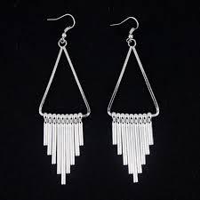 egyptian style silver coloured chandelier dangle earrings