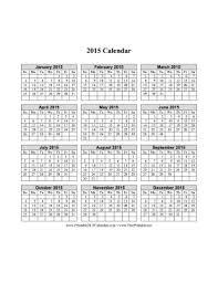 2015 Calendar Page Printable 2015 Calendar