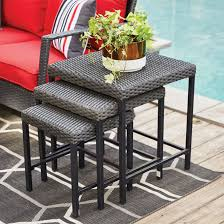 square nesting patio side table set