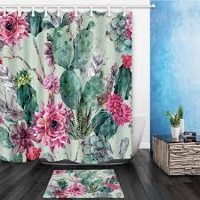 green plants cactus flower waterproof polyester fabric shower curtain set non slip floor mat bath rug shower curtains