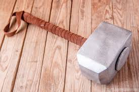 photo of painted thor s hammer after having wrapped the handle with suede