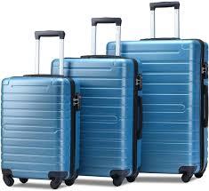 Light Luggage Sets Flieks Luggage Set 3 Piece With Tsa Lock Light Weight Hardside Spinner Suitcase Steel Blue