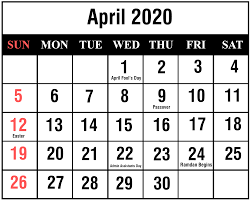 April 2020 Template April 2020 Calendar Printable Template Blank Editable Word