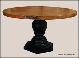 pedestal table base round copper top dining table inch diameter with 2 inch side drop mounted