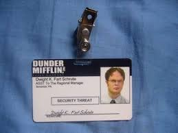 Badge Office The Office Id Card Dwight Schrute Badge Dunder Mifflin Tv