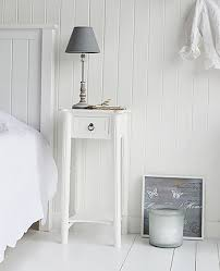 Nice New England White Bedside Table With One Drawer And Shelf And Atique Brass  Drop Pull Handle