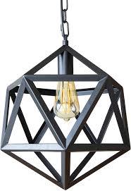 Geometric Pendant Light Aidos Industrial Metal Pendant Light Adjustable Chain Wrought Iron Metal Geometric Hanging Light Vintage Farmhouse Lighting Fixture For Kitchen