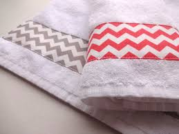 Coral Grey Chevron hand towel coral bathroom grey chevron