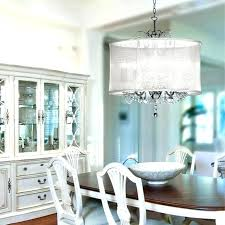 drum lighting fixtures organza silk drum shade crystal chandelier contemporary dining room fabric drum