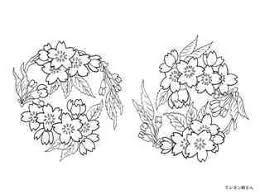 桜の丸の柄の着物の塗り絵の下絵画像